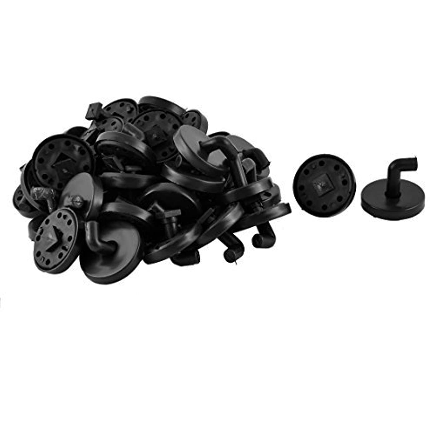平和なドック火山学DealMuxプラスチックラウンドバストイレ服帽子コートハンドバッグフックハンガー40個ブラック