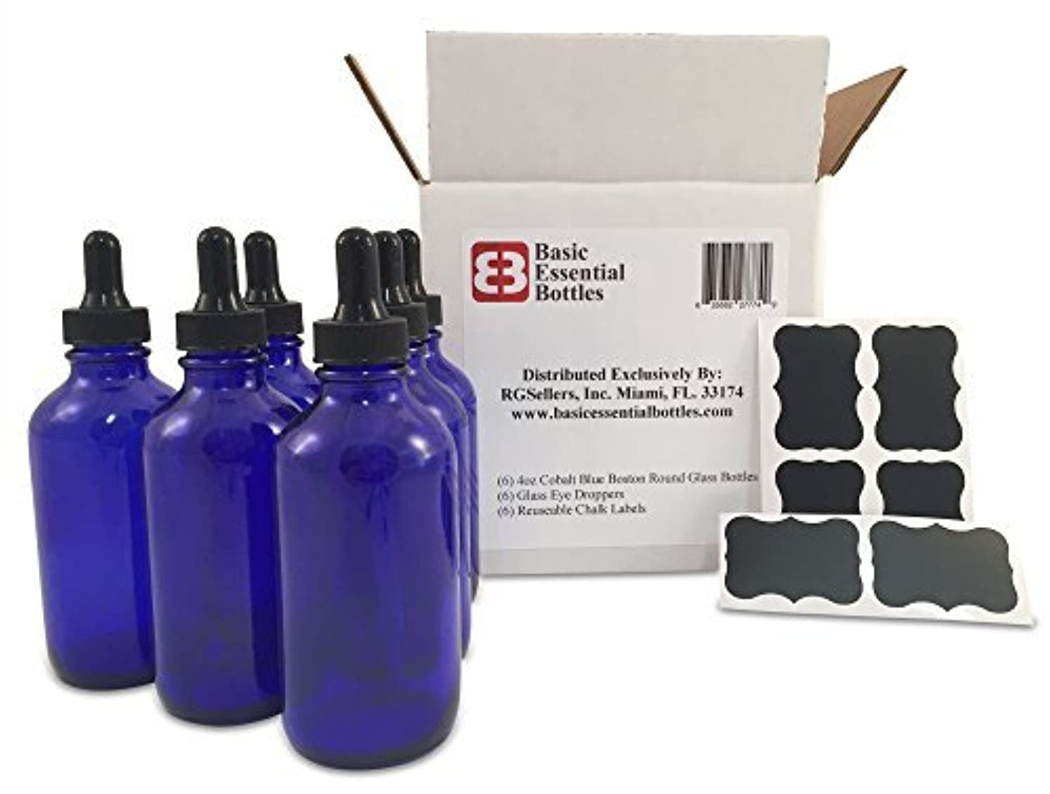 ライセンスゴールド面(6) 4 oz Empty Cobalt Blue Glass Bottles W/Glass Eye Droppers and (6) Chalk Labels for Essential Oils, Aromatherapy [並行輸入品]