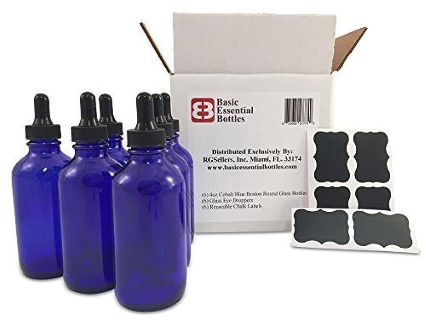 道を作るインスタントミシン(6) 4 oz Empty Cobalt Blue Glass Bottles W/Glass Eye Droppers and (6) Chalk Labels for Essential Oils, Aromatherapy [並行輸入品]