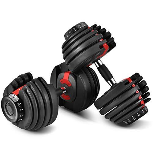 MOSHANG Las Mancuernas Ajustables, Pesas rápido Inteligente automáticos, aparatos de Ejercicios Conjunto 24kg (Size : 50 pounds-1 Red and Black)