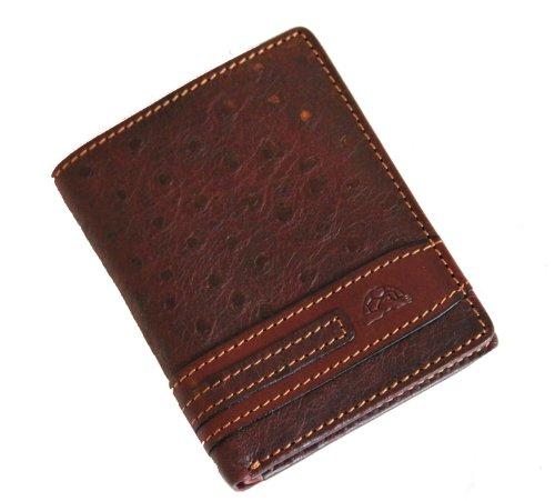 Tony Perotti TP10340 Geldbörse aus italienischem Straußenleder, schmal, Braun