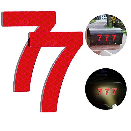 Baiway Reflektierende Hausnummer 7 aus Edelstahl, 7cm Selbstklebende Hausnummer, Klebend Hausnummer Schild zum Aufkleben für Briefkasten/Mailbox/Wand/Straßen und Tür (2er Pack)