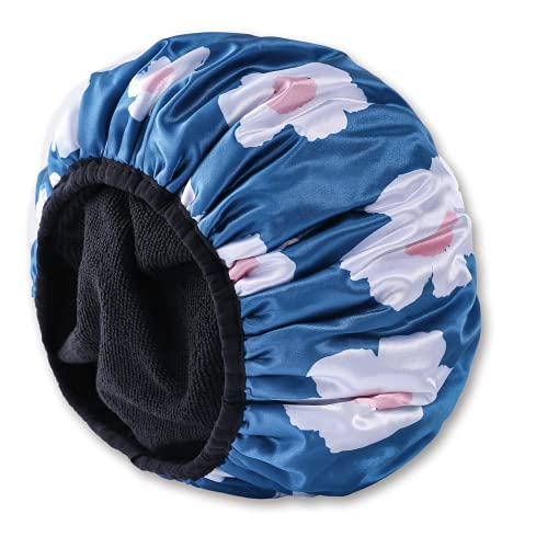 Triple Layer Terry Lined Shower Cap for Women, Extra Large Reusable Shower Caps with Microfiber Lining Bathing Cap Waterproof EVA Washable Hair Caps for Long Hair, Braids, Thick Hair… (BLUE)