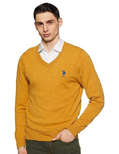 US Polo Association Men's Wool Sweater (USSW0782_Ochre Gr_M FS)