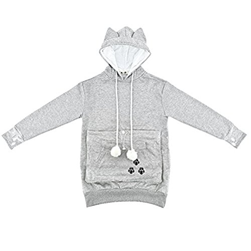 NeuFashion Hoodies Pet Holder Cat Dog Kangaroo Pouch Carriers Pullover Sweater, Grey, Small
