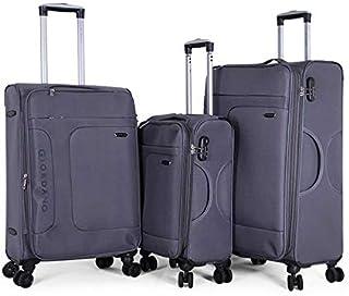 جيوردانو طقم حقائب سفر بعجلات,  3 قطع مع 4 عجلات, رمادي - 18003