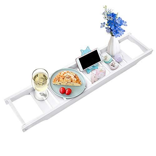 Ejoyous Badplank, wit, brug, badkuipdienblad, praktische badkuiptafel, badkuiprek van MDF, voor kaarsen, dranken, snacks, wijnglazen, thuisontspannings-ervaring