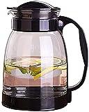 Tetera vidrio jarra jarra de jarra de agua jugo de jugo de jugo de té con tapa de acero inoxidable para jugo caliente / fría té leche y café de vidrio jarra de agua negro / blanco / verde 2000ml resis