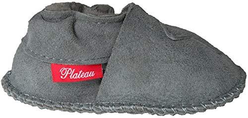 Plateau Tibet - ECHT LAMMFELL Baby Kinder Schuhe Babyschuhe Krabbelschuhe Jungen Mädchen Lammfellschuhe - Bär - in verschiedenen Farben & Größen (20/21 (max. Fußlänge 12,5cm), Grau (Gray))