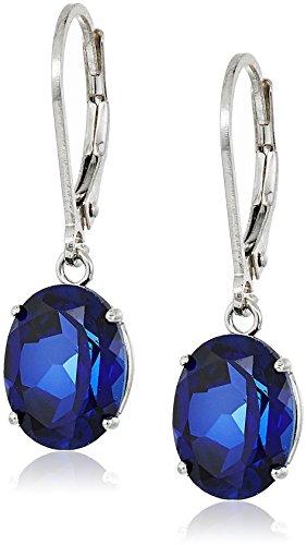 Sterling Silver Oval Gemstone Dangle Earrings
