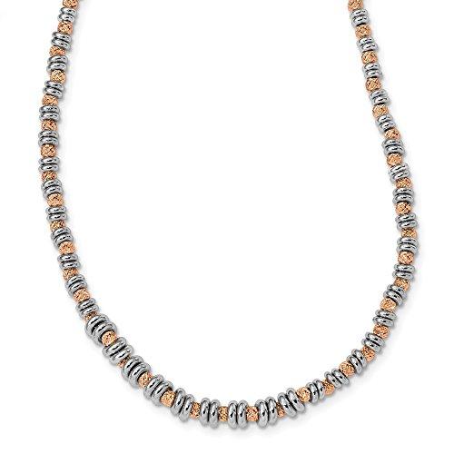 Collar con cuentas de plata de ley 925 en tono rosa pulido, corte brillante, regalo de joyería para mujer – 46 centímetros