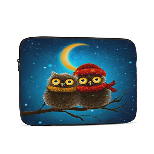 Little Snow Owls Sitting On The Branch,Red Scarf. Laptop Sleeve Compatible with MacBook iPad,iPad Pro,MacBook Pro,MacBook Air,Notebook Computer 12 inch