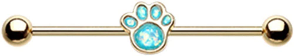 14 GA Golden Animal Lover Opal Paw Print Industrial Barbell 316L Surgical Stainless Steel Body Piercing Jewelry for Men and Women Davana Enterprises