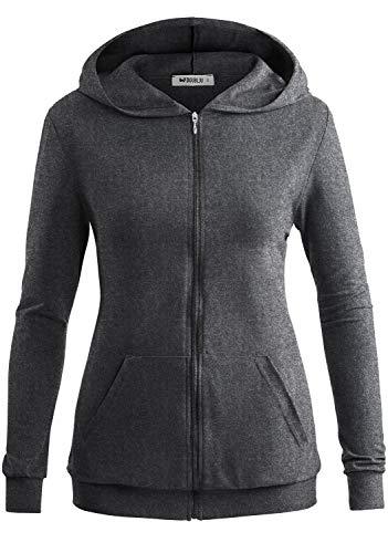 Doublju Women#039s Front Pocket Zipup Lightweight Hoodie with Plus Size HeatherGray XLarge