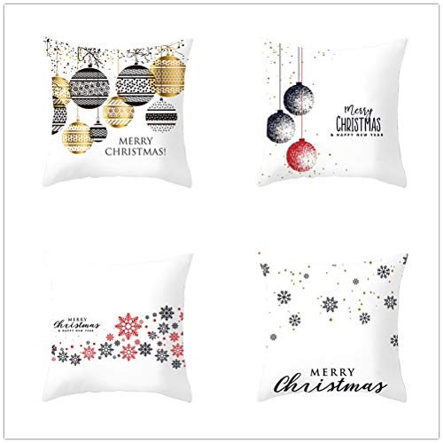 Set of 4 Pcs Throw Pillow Case Cushion Covers Christmas Snowflakes Velvet Soft Superfine Fiber Square Decorative Throw Pillowcases for Living Room Sofa Car with Concealed Zip E1130 40x40cm/15.6x15.6in