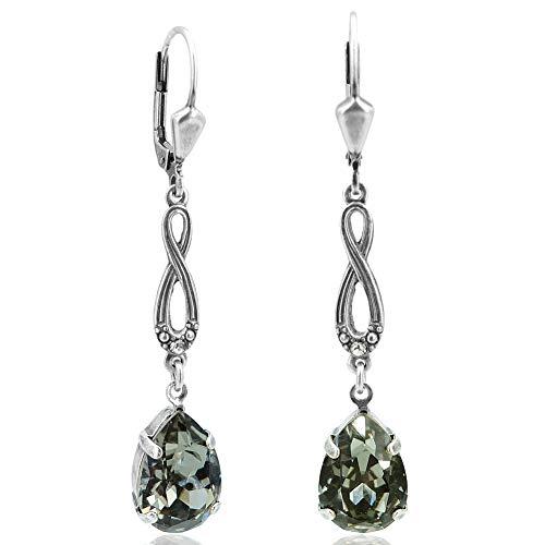 Jugendstil Ohrringe mit Kristallen von Swarovski® Silber Khaki NOBEL SCHMUCK
