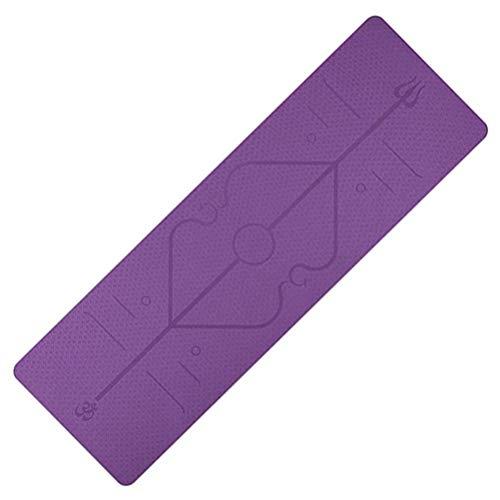 Esterilla de yoga Nerplro, TPE con línea de posición antideslizante, para principiantes, fitness y gimnasia, color morado, tamaño 183 * 61 * 0.6cm