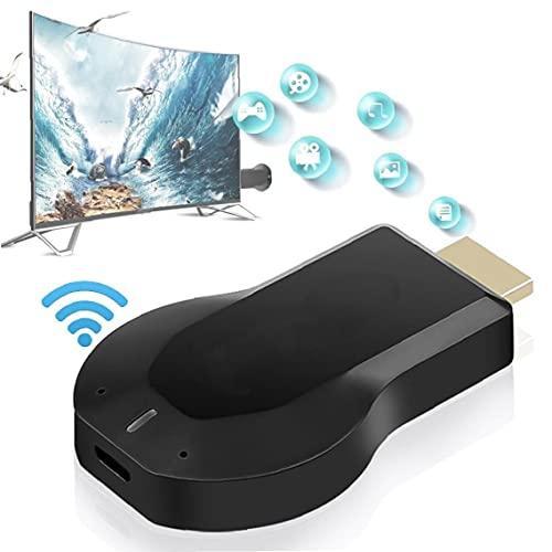 Hainice Dispositivo de Pantalla inalámbrica WiFi HDMI Pantalla de Receptor Adaptador de Reflejo para Android/iPhone/iPad/Windows/Miracast/Mac OS a TV/proyector/Monitor- Black