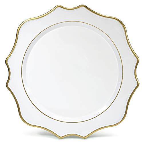 Occasions 20 Stück 13 '' Hochzeit Acryl Chargers (ausgebogtes Weiß/Gold)