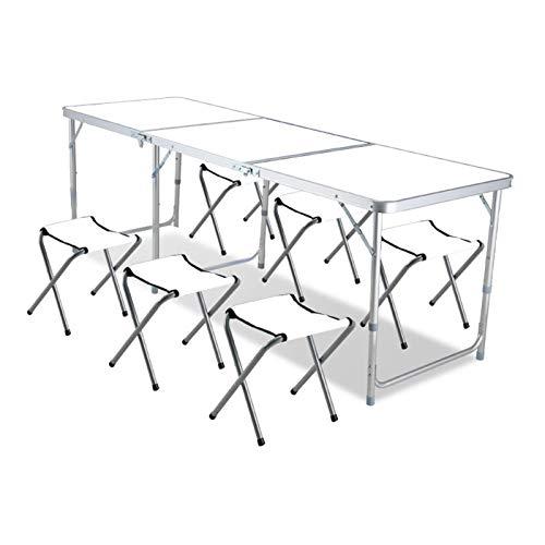 Tägliche Ausrüstung Klappbarer Camping-Tisch Höhenverstellbare Klapp-Picknicktische für den Außenbereich Tragbare klappbare Camp-Tische aus Aluminium mit Hockern für Camping im Freien Dining BBQ Pa