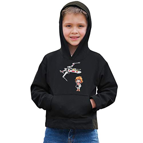 Star Wars grappig zwart kinderpullover met capuchon - Luke Skywalker SD karikatuur en X-Wing Mini Drone (Star Wars Parodie) (Ref: 1092)