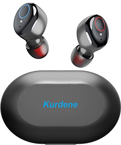 Kurdene Wireless Earbuds,Bluetooth Earbuds with Charging Case Bass Sounds IPX8 Waterproof Sports Headphones with Mic Touch Control 24H Playtime -Black