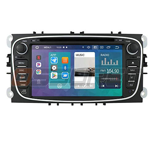 Android 10 Auto GPS-Navigation Bluetooth 2 Din Auto-Multimedia-System mit 7-Zoll-Touchscreen für Ford C-Max Connect Fiesta Unterstützung Spiegel-Link WiFi / 4G SWC DVR OBD2 DAB + (Schwarz)