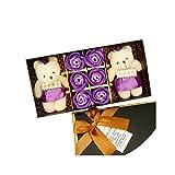 Ace Mate 6PCS romantische Rosen-Seifen-Blumen-Geschenk-Box mit Plüsch Tier Spielzeug-Bären-Puppe...