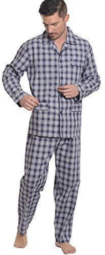 El Búho Nocturno - Pijama de Caballero | Pijama de Hombre de Manga Larga clásico a Cuadros y Finas Rayas | Ropa de Dormir para Hombre - Viyela, 100% alg. - Talla L - Marino, Gris, Beige y azafata