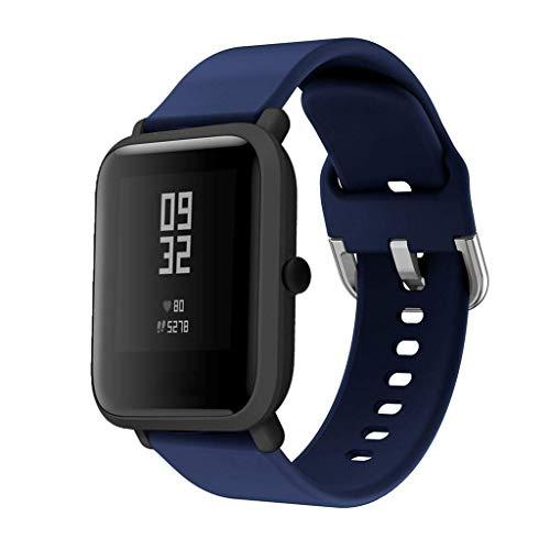 Correas de Reloj de Repuesto de Silicona para Xiaomi Huami Amazfit Bip Youth Watch (20mm, Azul Oscuro)