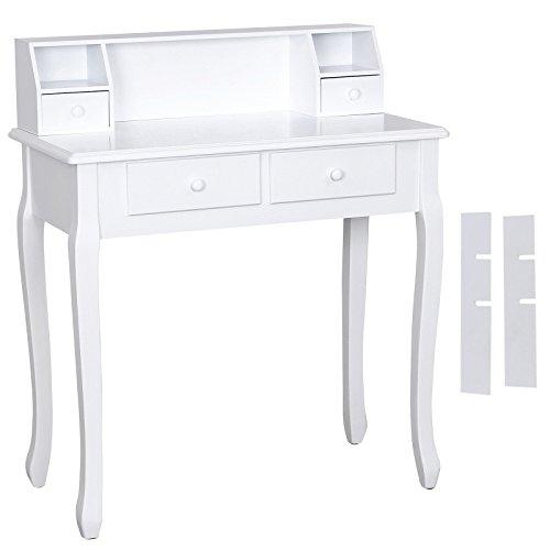 SONGMICS Schminktisch ohne Spiegel und Hocker Schreibtisch,Weiß RDT80W