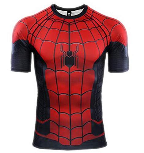 HOOLAZA 2019 Spiderman Men Compresión de Manga Corta Camiseta para Hombre Fitness Sport Gym