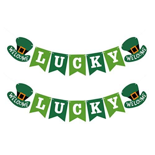 Amosfun St Patricks Day Banner Leprechaun Hat Banner Lucky Shamrock Banner Irish Day Decoration Saint Patrick'S Day Supplies 2Pcs