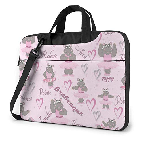 Hippo Ballerina Dancer Laptop Shoulder Bag 15.6 Inch Laptop Messenger Case Laptop Sleeve Carrying Case with Strap