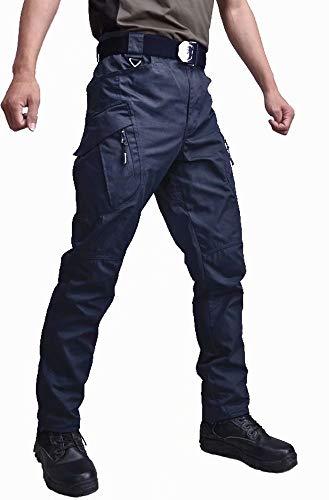 KEFITEVD Men's Outdoor Pants Work Mountain Military Tactical Pants Slim Fit Hiking Mens Lightweight Cargo Pants Navy