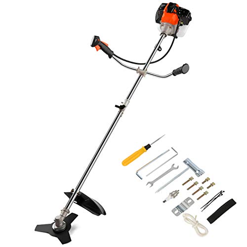 COOCHEER 2-Cycle Gas String Trimmer, 42.7CC Straight Shafter Brush Cutter with Detachable Head for Weed Trimming, Weed Wacker 2 in 1, Orange