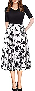 Women Vintage Casual Swing 3/4 Sleeve Patchwork Floral...