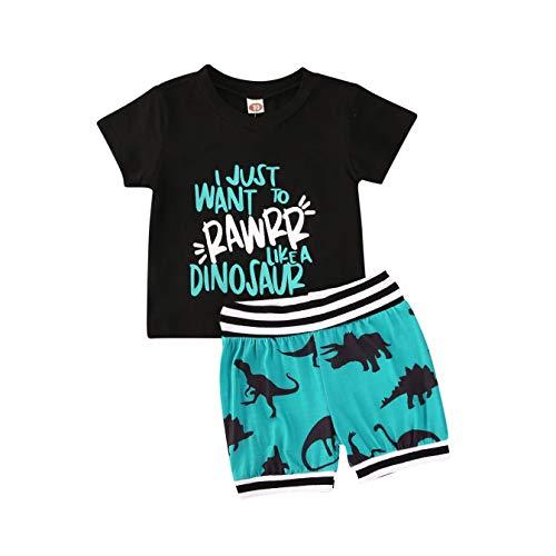 Kleinkind Baby Junge Shorts Kleidung Set, Sommer Cartoon Brief gedruckt T-Shirt Tops + Camouflage Dinosaur Shorts Outfits Set (2-3 Jahre, Schwarz/Blau)