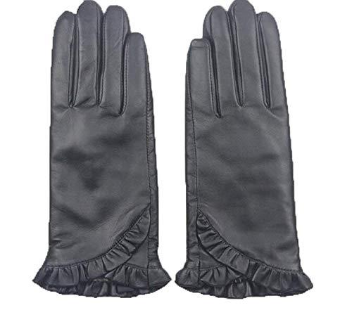 Gants Noir Modèles De Mode Féminin Simple Plaine Gants Cuir Imperméables En Pour Spécial Style L'Extérieur (Color : Schwarz, Size : M)