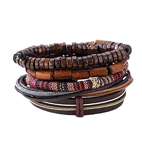 Sanfiyya 1 UNID Pulsera de Cuero Trenzado para Hombres para Hombres Cuerdas de cáñamo Cuerdas de Madera Pulseras de Manguito Ajustables