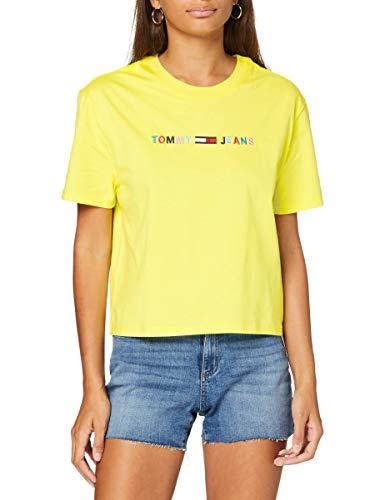 Tommy Hilfiger Tjw Colored Linear Logo tee Camiseta, Amarillo (Frozen Lemon Zio), 42 (Talla del Fabricante: X-Large) para Mujer