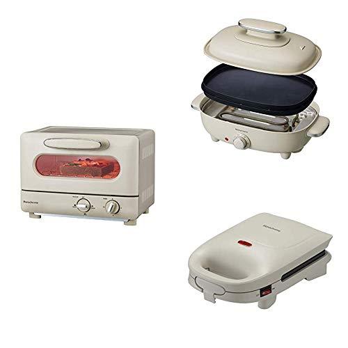 【セット買い】モノクローム オーブントースター 1000W ホワイト レトロ MOS-1028/W [Amazon限定ブランド] + ホットプレート お好み焼き 焼肉 平面 波型 リバーシブル プレート 蓋付き ホワイト MHP-1210/