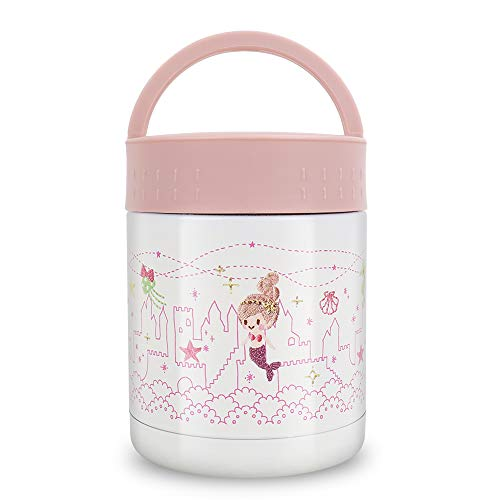 Kids Thermos Food Jar,13.5oz Soup Thermos for Hot Food,Leak Proof Vacuum Insulated Stainless Steel Hot Lunch Containers for Kids,Wide Mouth Thermal Food Flask,Thermos Lunch Box for School (Pink)