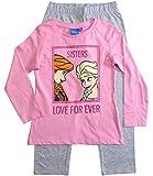 Frozen - Die Eiskönigin Mädchen Schlafanzug ELSA Pyjama (Rosa-Grau, 128)