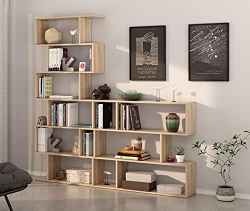 Miroytengo Pack 2 estanterías diseño zig-Zag estanteria Alta y Baja Color Roble Canadian Fabricadas en España ⭐