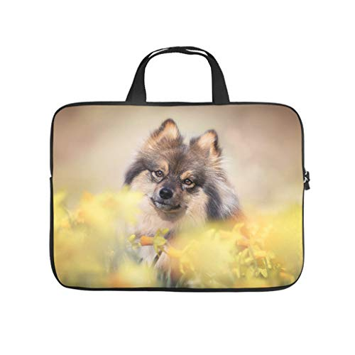 Pointed dog yellow flowers blur cute animals laptop bag scratch resistant laptop protective case funny notebook bag for university work business