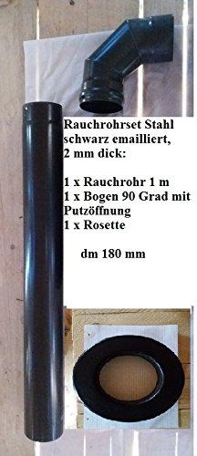 Fumée Tube Set 180 mm pour poêle à bois 2 mm Fer Tube Noir émaillé