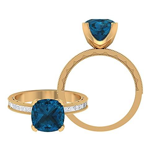 Rosec Jewels 14 quilates oro blanco cojín princess-shape Blue Topacio azul - Londres Moissanite