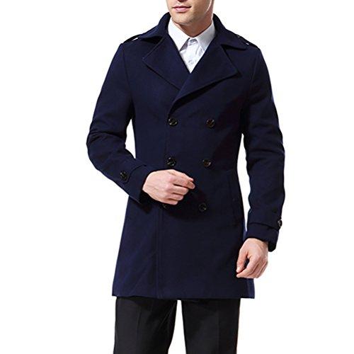 AoWOFS herenjack, dubbel, klassiek, slim fit trenchcoat, 4 kleuren