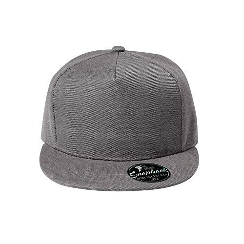 OwnDesigner Unisex Kappe Classic Snapback, Cap, Mütze, Kappe Cap mit geradem Schirm, One Size Einheitsgröße für Männer und Frauen (Cap5P-2Grau)